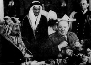 King+Abdul+Aziz+(Ibn+Saud)+attending+official+dinner+with+Sir+Winston+Churchill,+Lake+Qaroun,+Egypt,+17+Feb+1945.jpg